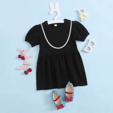 Schwarz Geometrisches Muster Elegant Baby Kleider