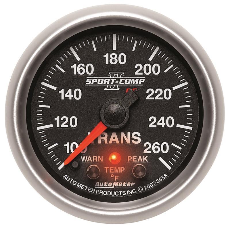 AutoMeter GAUGE; TRANS TEMP; 2 1/16in.; 100-260deg.F; STEPPER MOTOR W/PEAK/WRN; SPORT-COMP