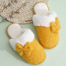Two Tone Bow Decor Fluffy Slippers
