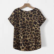 Bluse mit Leopard Muster und Fledermausaermeln