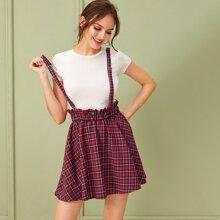 Frill Trim Button Tartan Skirt