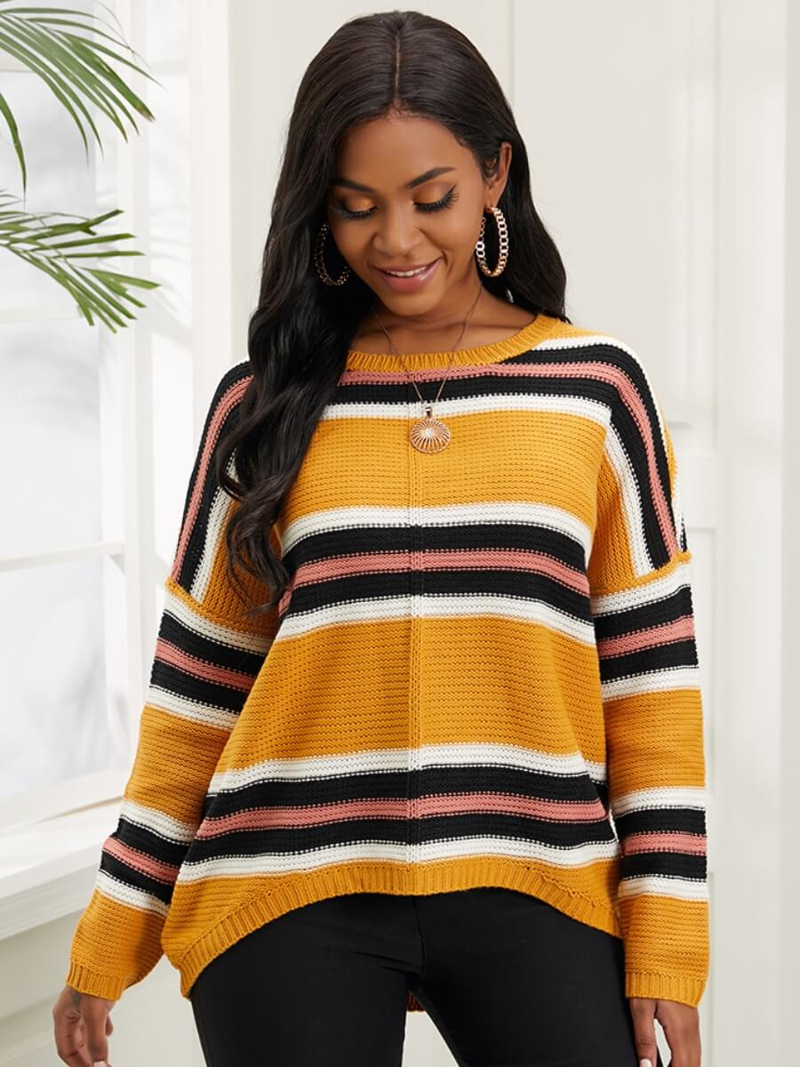 LW Lovely Casual O Neck Dropped Shoulder Yellow Stripes Sweater