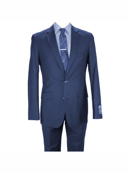Carlo Lusso mens 2 button fully lined notch lapel slim fit Navy suit