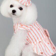 1pc Dog Striped Dress With 1pc Hat
