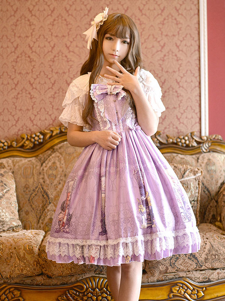 Milanoo Sweet Lolita Dress JSK Light Green Printed Pleated Ruffle Tunic Slim Fit Lolita Jumper Skirt Original Design