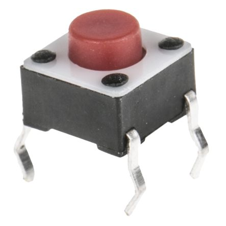 TE Connectivity Red Button Tactile Switch, Single Pole Single Throw (SPST) 50 mA @ 24 V dc 1.4mm (20)