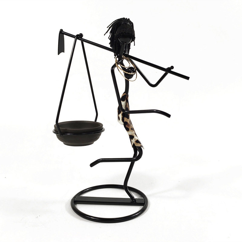 Creative Iron Candle Holder Figure Candlestick Decoration Items Carrying Hoe Girl Home Table Decoration Gift