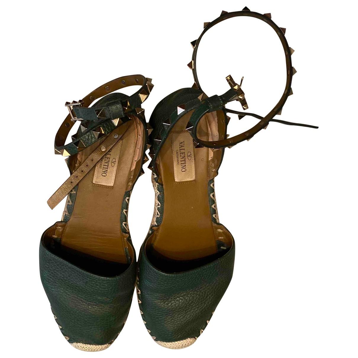 Valentino Garavani - Espadrilles   pour femme en cuir - vert