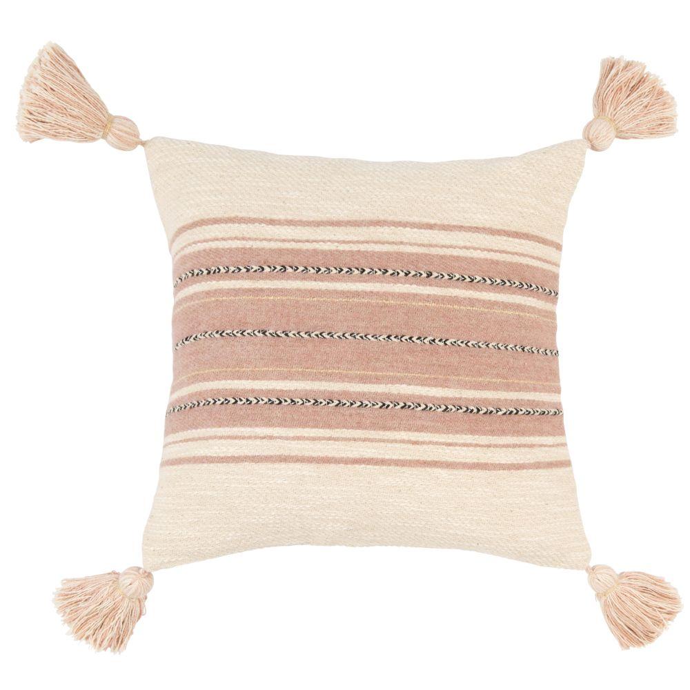 Kissenbezug aus Webbaumwolle, rosa, naturweiss und anthrazitgrau 40x40