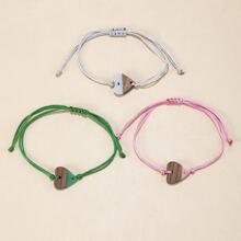 3pcs Heart Decor Bracelet