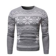 Men Christmas Print Round Neck Sweater