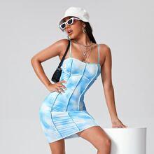 Seam Front Tie Dye Bodycon Dress