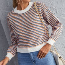 Drop Shoulder Stripe Sweater