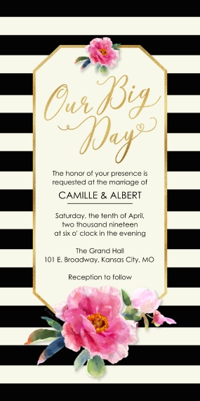 Wedding Invitations Flat Matte Photo Paper Cards with Envelopes, 4x8, Card & Stationery -Black & White Stripes Invitation by Hallmark