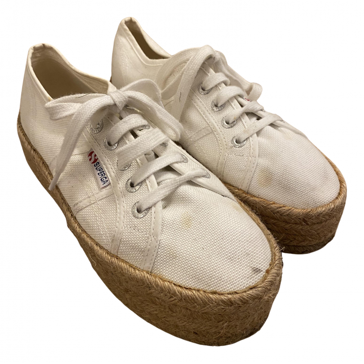Superga N White Cloth Espadrilles for Women 38 EU