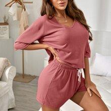 Drop Shoulder Rib-knit Tee & Shorts PJ Set