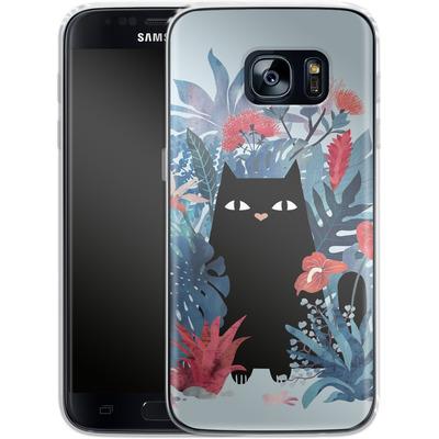 Samsung Galaxy S7 Silikon Handyhuelle - Popoki Blue von Little Clyde