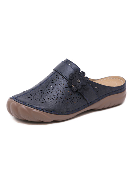 Milanoo Mules Clogs PU Leather Blue Round Toe Slip On Shoes