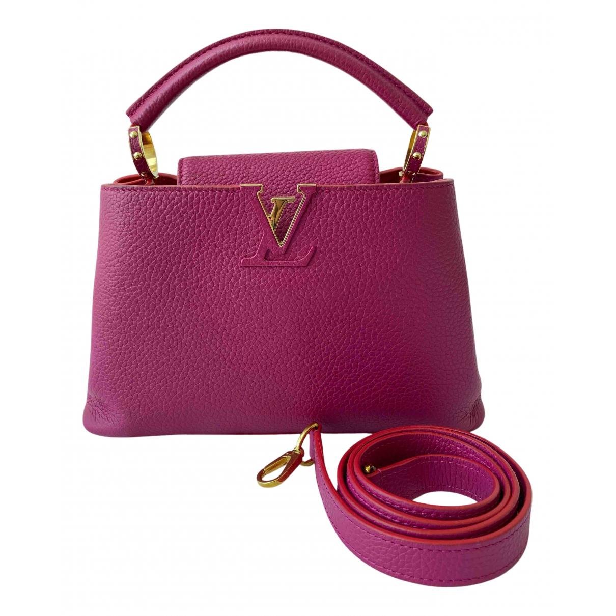 Louis Vuitton - Sac a main Capucines pour femme en cuir - rose