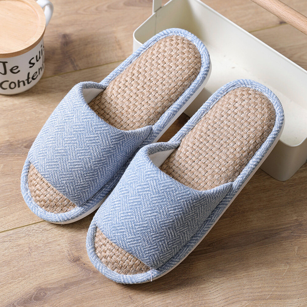 Women House Knitted Bottom Solid Color Flats Home Slippers