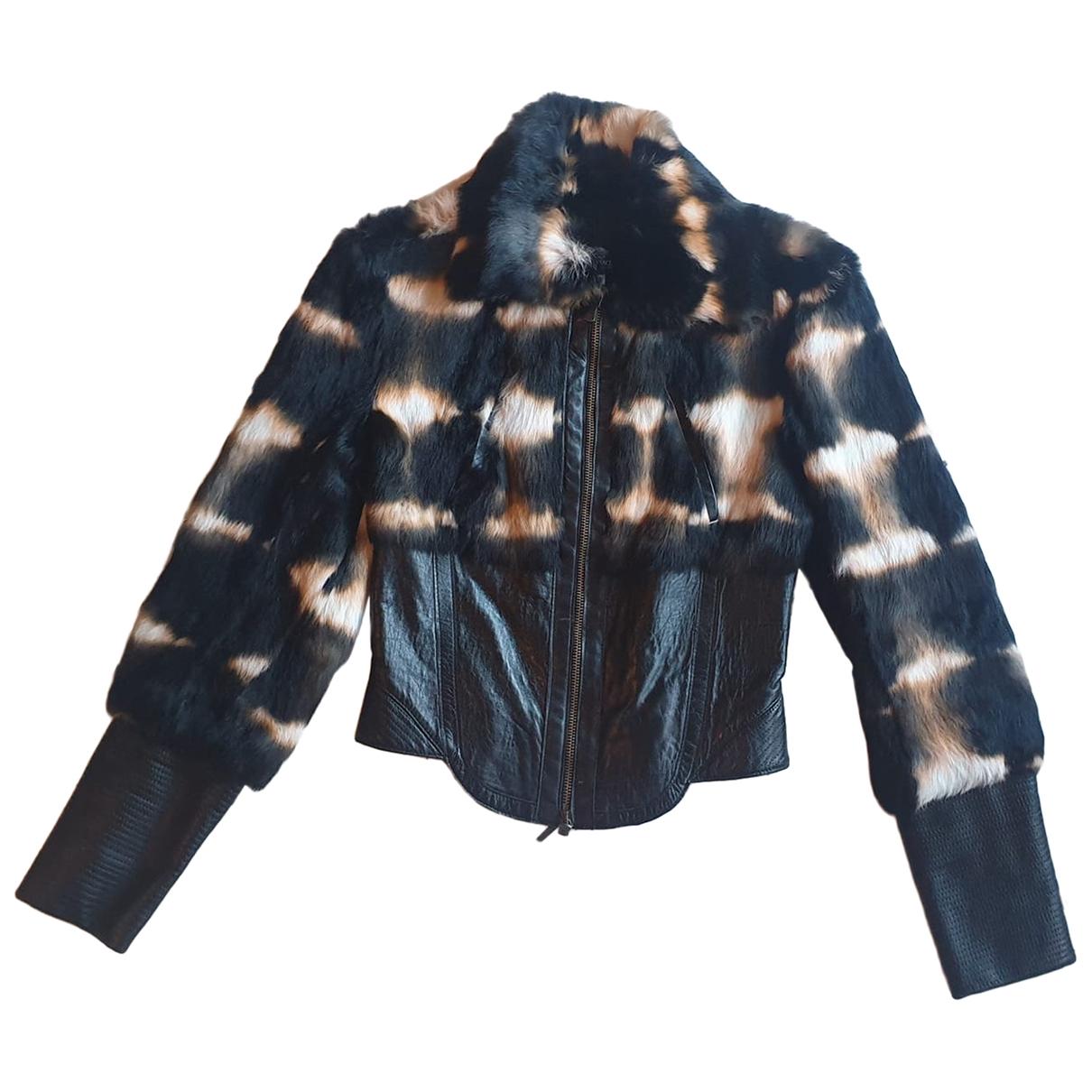 Versace Jeans \N Lederjacke in  Bunt Kaninchen