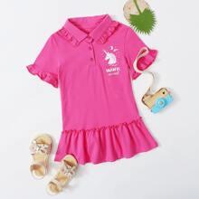 Toddler Girls Unicorn & Letter Graphic Ruffle Hem Tee Dress