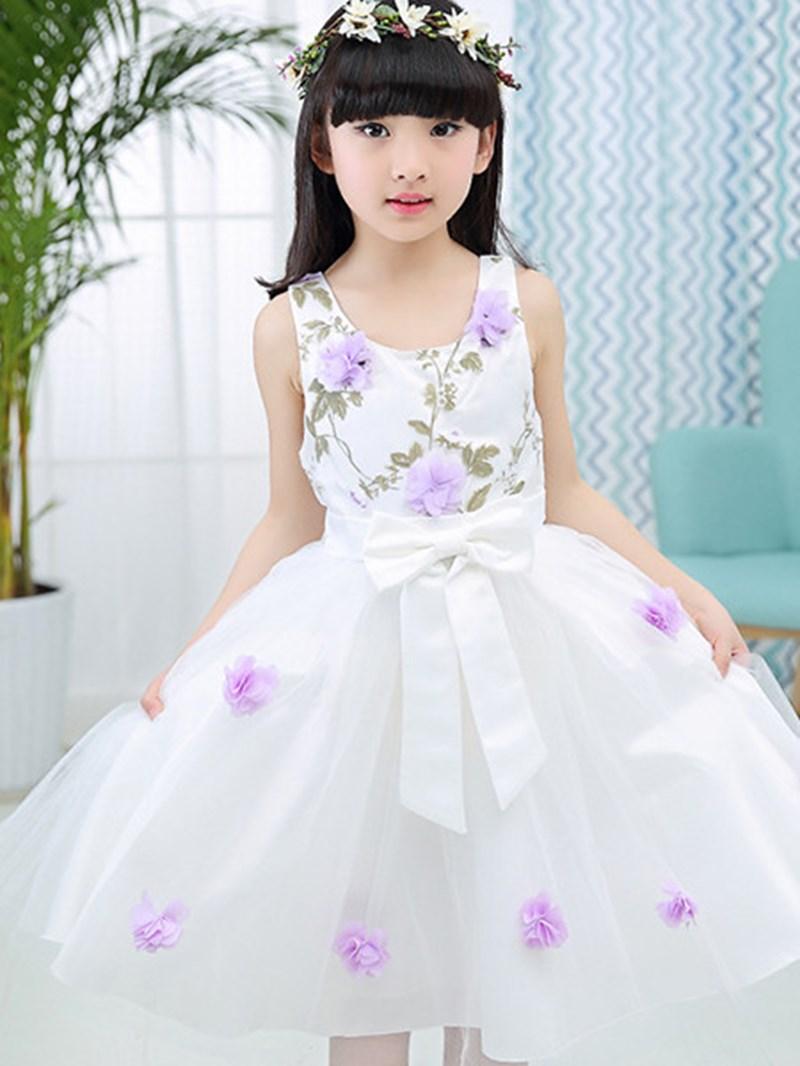 Ericdress Sleeveless Mesh Pleated Floral Girls Dress