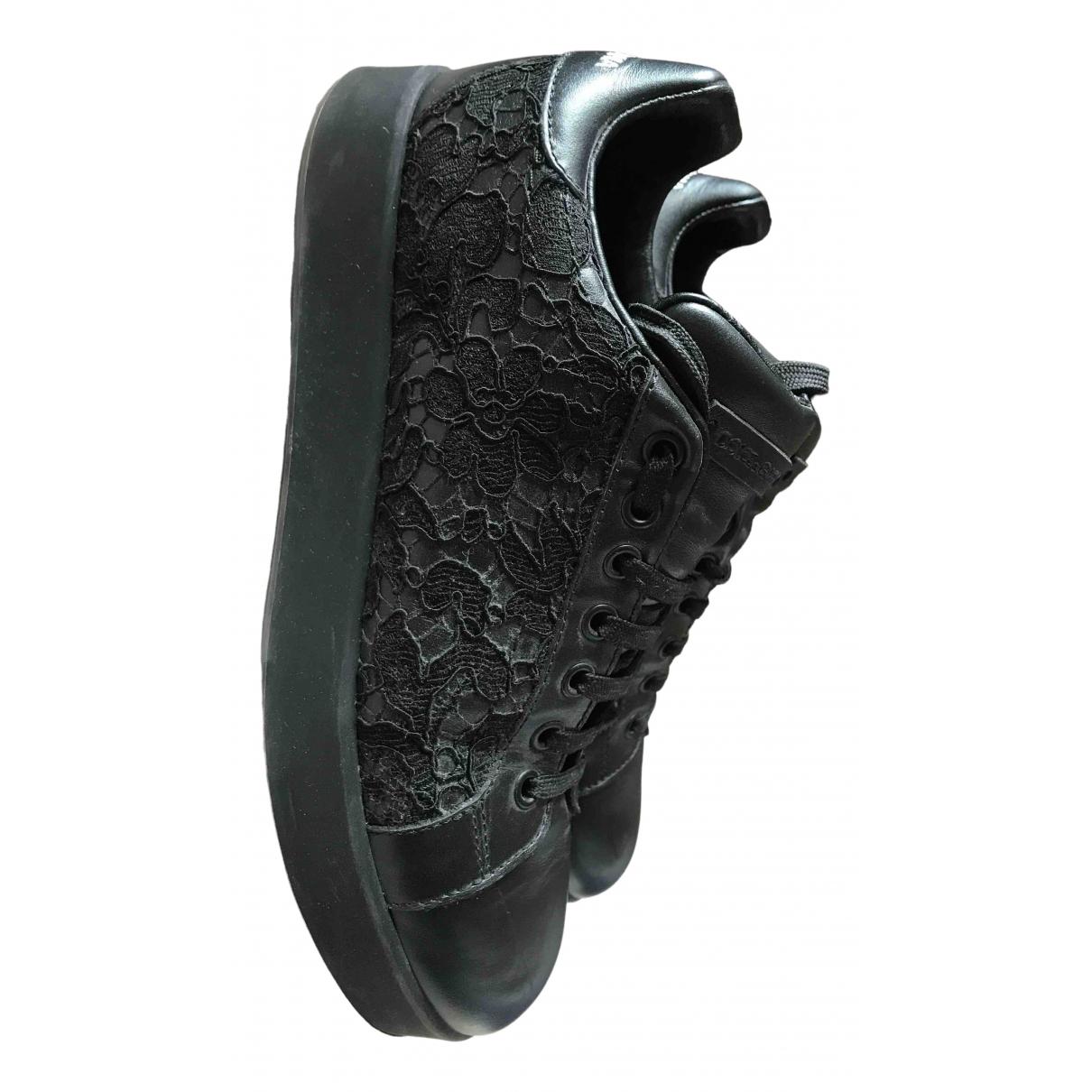 Dolce & Gabbana Portofino Black Leather Trainers for Women 38.5 IT