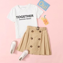 Girls Slogan Graphic Tee & Belted Double Breasted Skirt Set