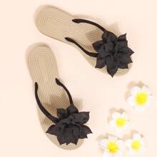 Floral Appliques Flat Flip Flops