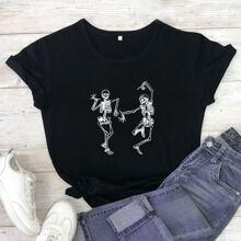 T-Shirt mit Weihnachten, Skelett Muster und rundem Kragen