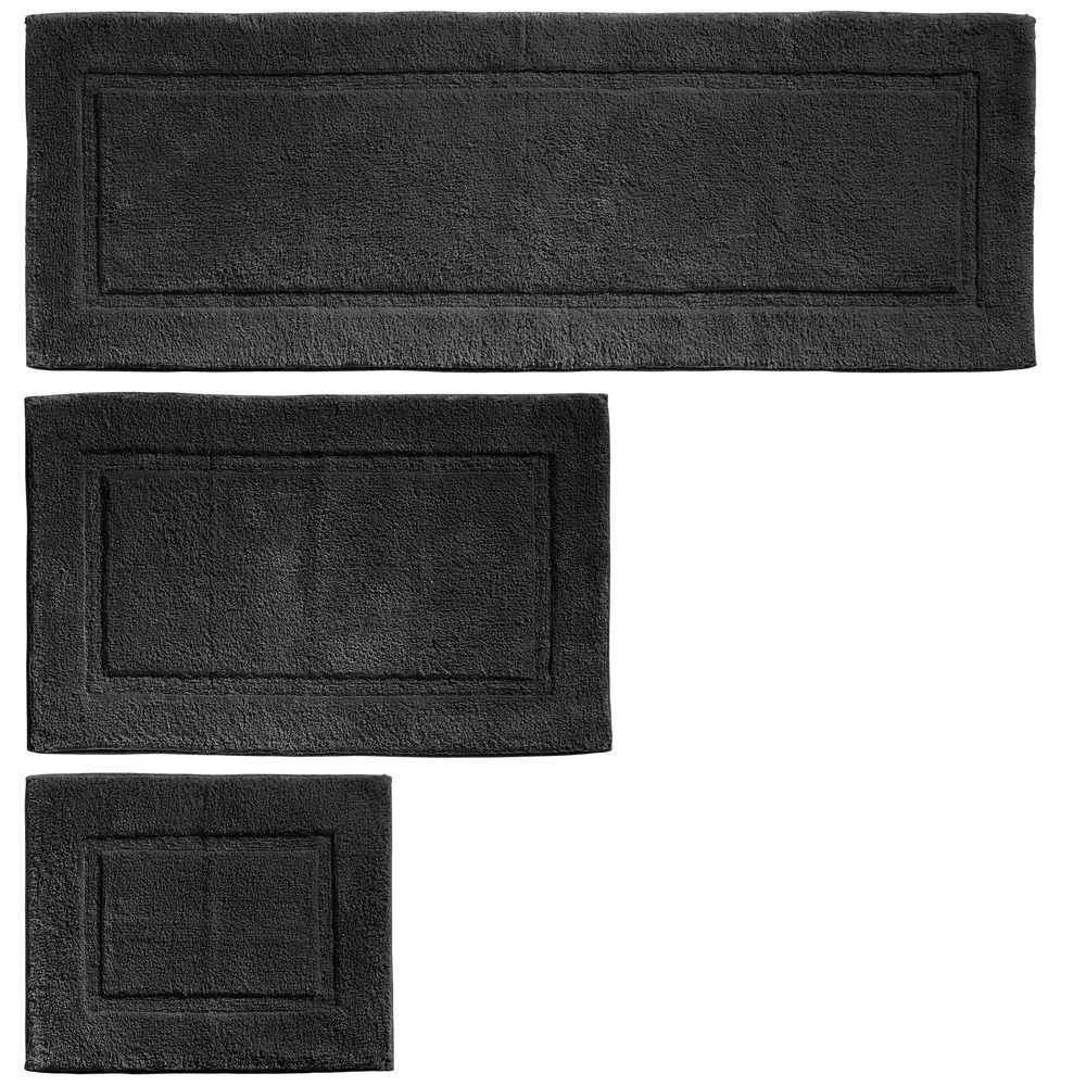 Cotton Spa Bath Mats with Border - Set of in Black, 17