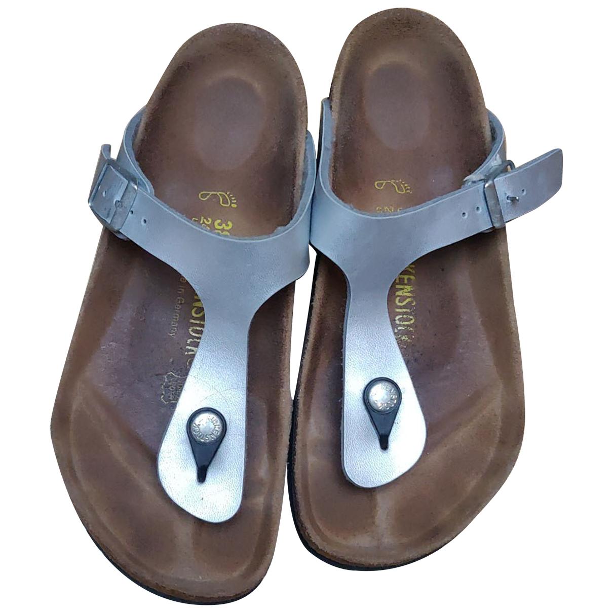 Birkenstock \N Sandalen in  Silber Kunststoff