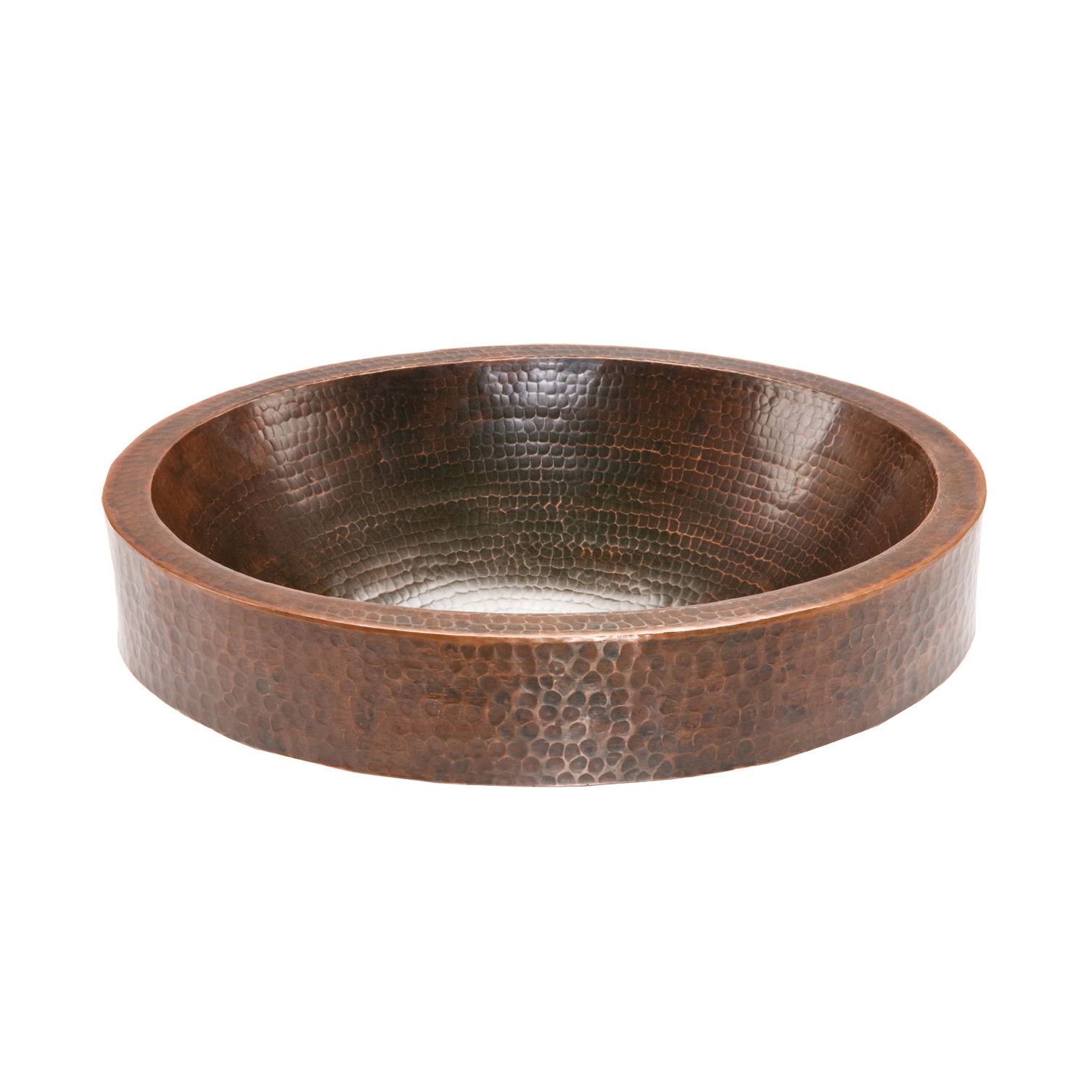 Oval Skirted Vessel Hammered Copper Sink