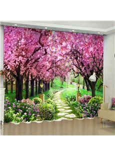 3D Pink Peach Flowers Printed 2 Panels Romantic and Decorative Custom Curtain