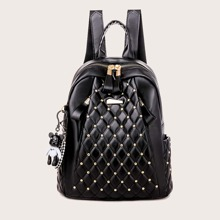 Quilted Studded Decor Backpack With Bag Charm