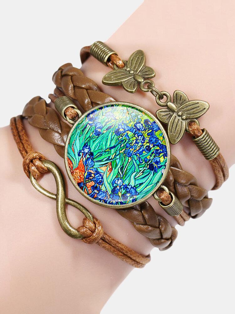 Vintage Painting Crystal Bracelet Hand-Woven Butterfly Infinity Symbol Men Women Multi-Layer Leather Bracelet