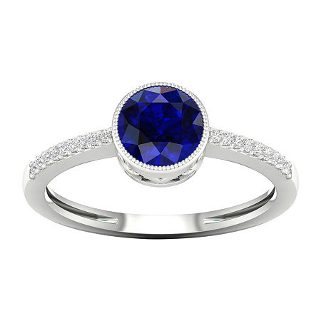 Womens Diamond Accent Genuine Blue Sapphire 10K Gold Cocktail Ring, 8 , No Color Family
