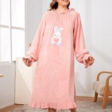 Plus Cartoon Graphic Flannel Night Dress