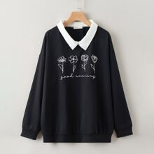 Letter Flower Graphic Oversized Sweatshirt