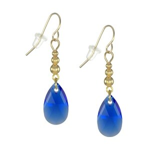 Assorted Colors Handmade 16mm Crystal Pear Gold Beaded Earrings (majestic.cobalt.blue)