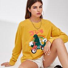 ROMWE X Vincenttrinidadart Dinosaur Graphic Oversized Sweatshirt