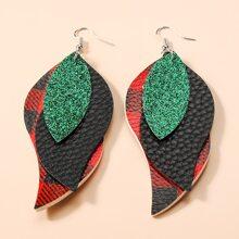 Weihnachten PU Leder Ohrring mit Karo Muster