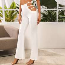 Strappy Cut Out Waist Flare Leg Pants