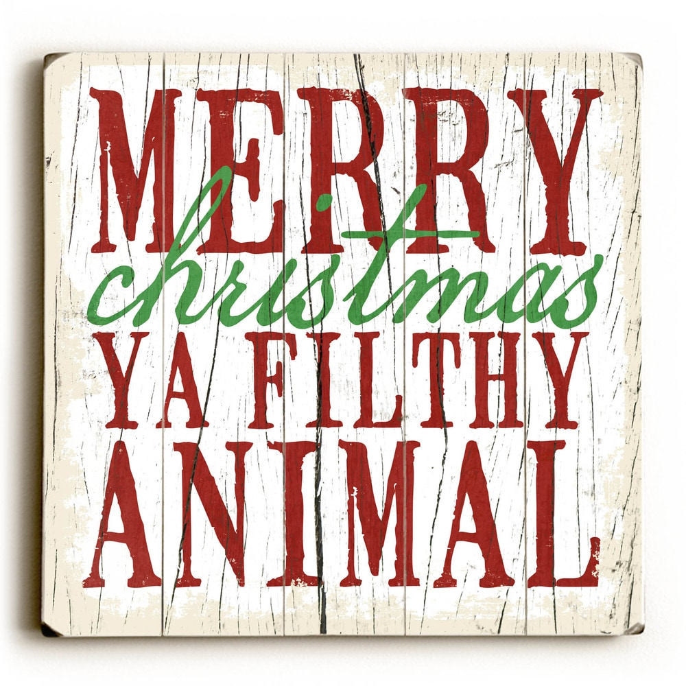 Merry Christmas - Wood Wall Decor by Misty Diller - multi (13 x 13)