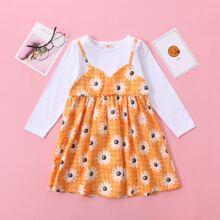 Kleid mit Gaensebluemchen und Karo Muster