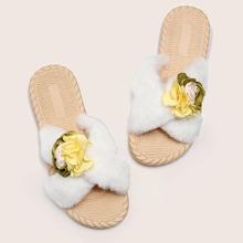 Flower Decor Criss Cross Fluffy Slippers