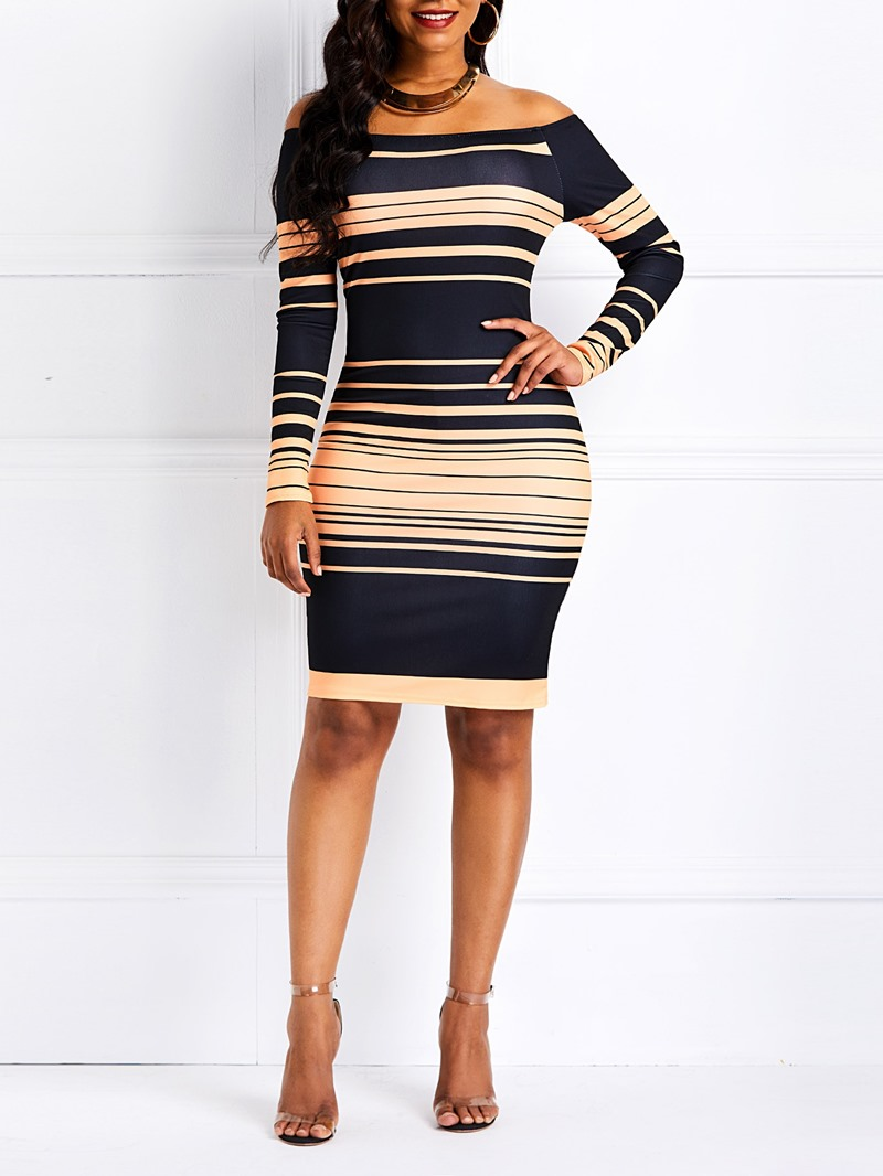 Ericdress Stripe Long Sleeve Knee-Length Bodycon Dress
