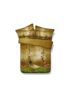 Silent Swing and Butterfly Printed Pastorl Style Cotton 3D 4-Piece Bedding Sets
