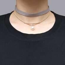Mehrschichtige Halskette mit Kunstperlen Anhaenger